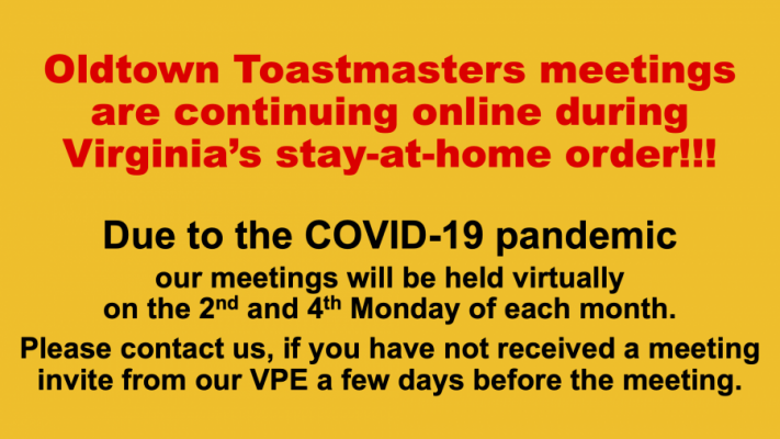 Virtual club meetings until further notice.
