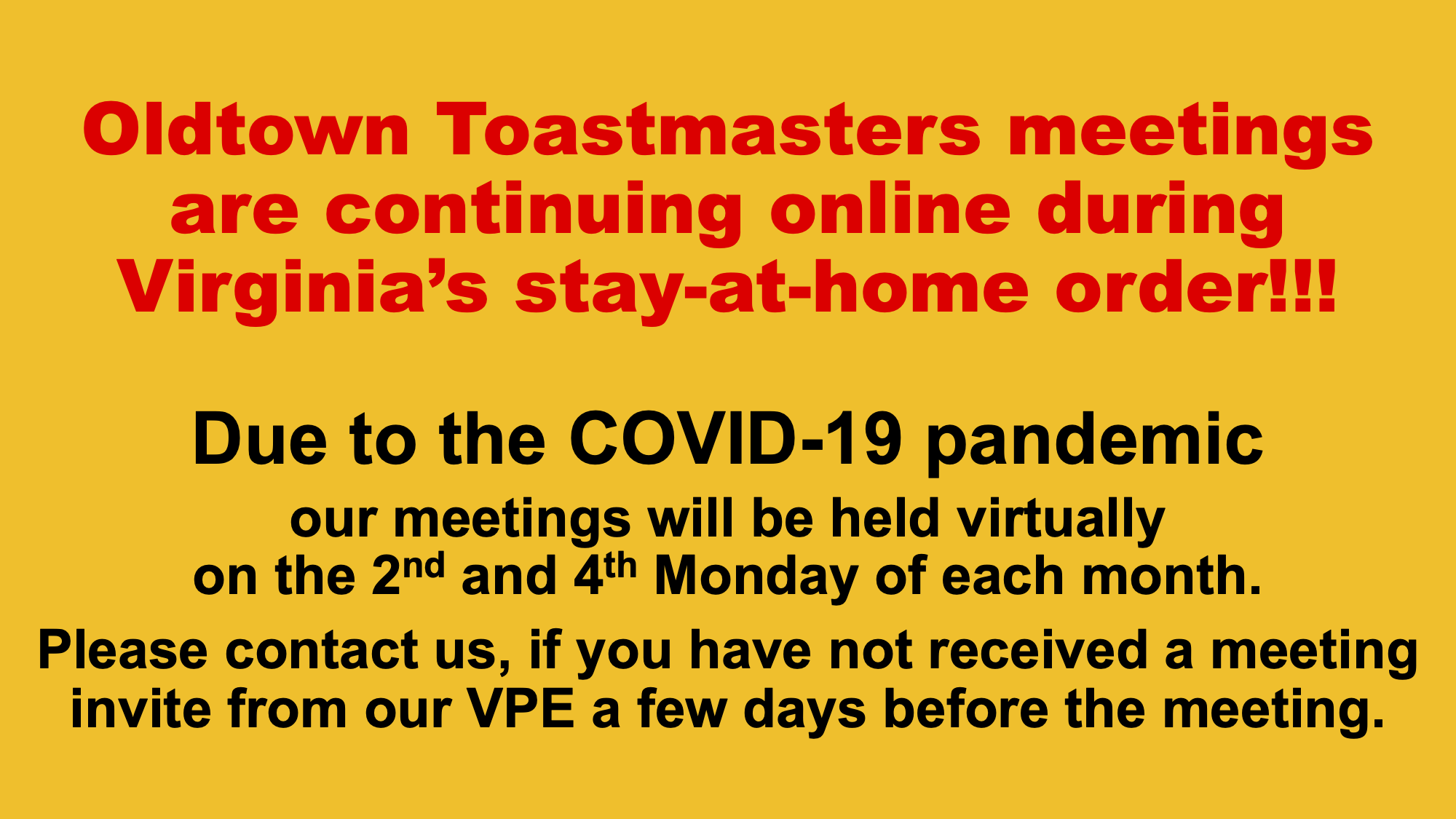 Virtual Club Meetings until further notice