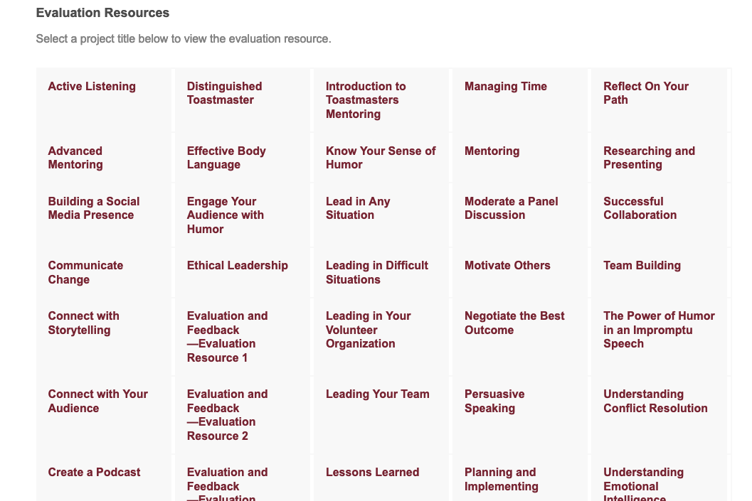 A screenshot of part of the evaluation resources available